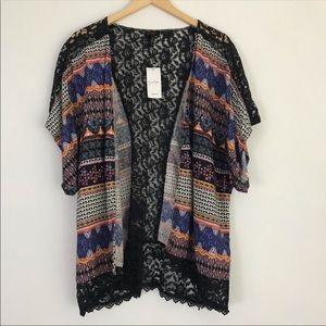 Jessica Simpson Tribal Print/Black Lace Kimono S